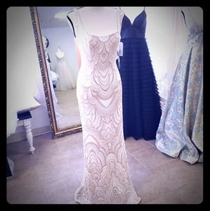 Ivory Rose Gold Glitter Long Dress size 3/4